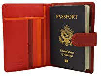 Visconti Multi Colored Passport Holder Wallet (Red)