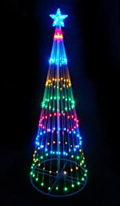 #!Cheap 6' Multi-Color LED Light Show Cone Christmas Tree Lighted Yard Art Decoration