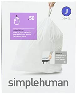 simplehuman Custom Fit Trash Can Liner J, 30-40 Liters / 8-10.5 Gallons, 50-Count
