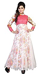 Bhoomi Creation Women's White Designer Semi-stitched Gown