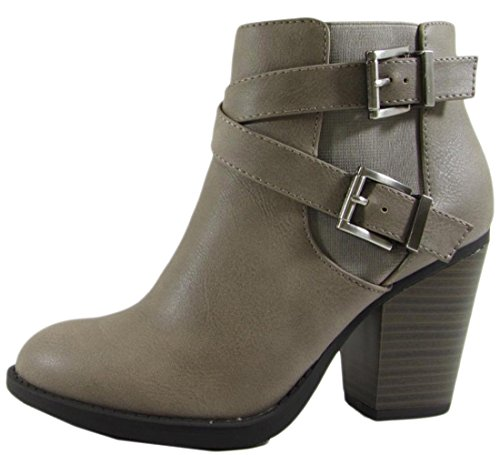 Soda Women's Studio Crisscross Buckle Bootie (6 B(M) US, Grey) (Soda Shoes Women Wedges compare prices)