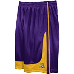 NCAA Mens LSU Tigers Fast Break Hoop Short with Draw Cord by Majestic