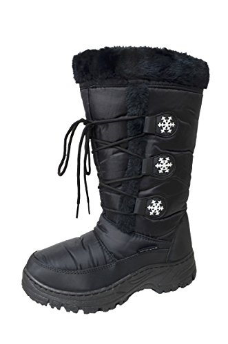 Women's Water Resistant Winter Snow Boots Snowflake (MARLEY-03) Black 7 M US