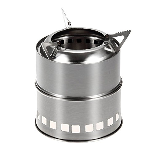 Lightweight Potable Stainless Steel Wood Burning Camping Stove - Compact Kit for Backpacking, Camping, Survival - Burn Twigs (No Batteries or Liquid Fuel Canisters Needed) (Toaster Coffee Maker Oven compare prices)