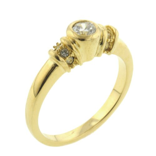 Pugster Round Cz Golden Band Ring Gift Fashion Jewelry