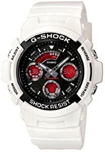 G-Shock Ana-Digi White Strap Black and Red Dial Unisex Watch #AW-591SC-7ADR