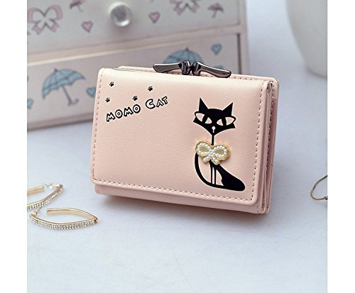 efe2d819dc1 Beige [Cat With BowKnot] Womens Wallet Small Clutch Wallet Hand purse For Womens  Women's
