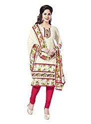 Salwar House White Unstitched Cotton Embroidery Dress Material with Dupatta