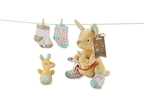 b874e671dff7f Baby Aspen Kangarooties Plush Plus Rattle And Socks For Baby