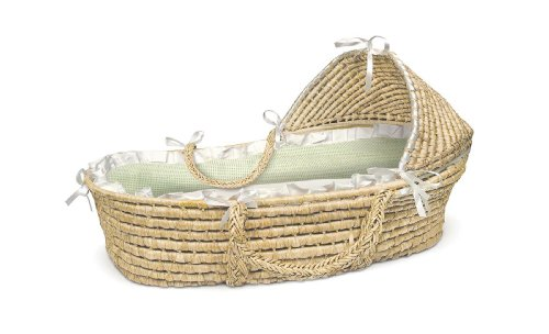 Badger Basket Natural Moses Basket with Hood, Sage Gingham Bedding