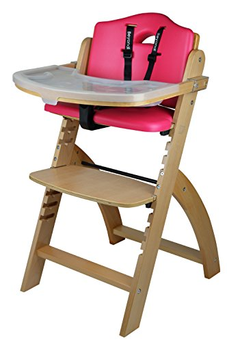 Abiie Beyond Wooden High Chair with Tray. The Perfect Seating Highchair Solution for Your Child As Toddler's or a Dining Chair (6 Months & up) (Natural - Raspberry Red Cushion)