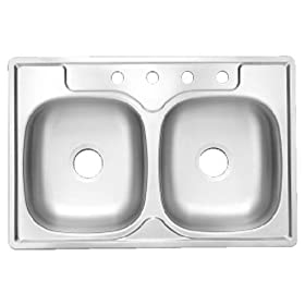 Kindred Builder DS704BX Double Bowl Topmount Stainless Steel Sink