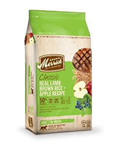 Merrick Classic 15-Pound Adult Real Lamb, Brown Rice and Apples Dog Food, 1 Bag