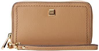 Nine West 9W City Chic Leather Collection Broadway Tech Zip Around Wristlet Nut,One Size