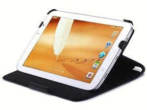 UltraSlim Case Leder Tasche Samsung Galaxy Note 8.0 N5100 3G WiFi N5110 mit Wake-Up Sleep und Standfunktion aus echtem Nappa Leder Schutzhülle Cover Hülle in schwarz