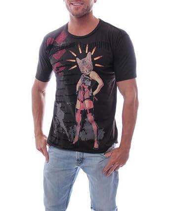 G Zap Men's Short Sleeve Sexy Cat Woman Graphic Print T-shirt(MENTOP-GTE,BRN-S)