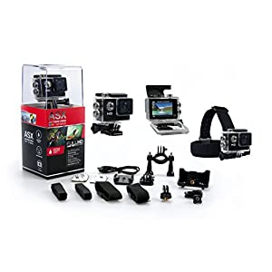 ASX ActionPro Sports Camera - HD Waterproof/Shockproof Sports Camera -2 inch LCD Screen - 140 Degree Super Wide Angle Lens - Waterproof - Shockproof - Headstrap - 10 Accessories Included