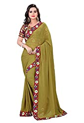 Fashion205 Women Chiffon Saree (TOK-AR7-1032_Green_Green_Free Size)