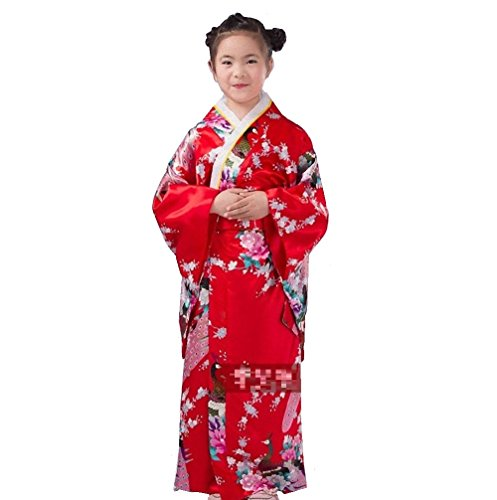 Kimono Robe [ Flower Design for Kids ] Japanese Traditional Costume (47.2inch (120cm), Red) (Red Dragon Girl Geisha Costume)
