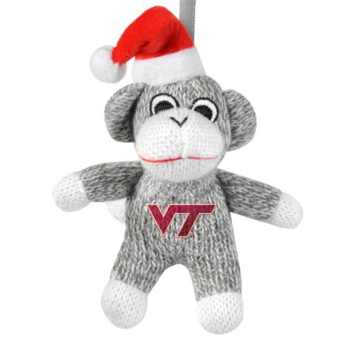 NCAA Virginia Tech Hokies 2012 Plush Sock Monkey Ornament, One Size, Red