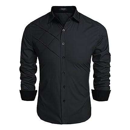 Coofandy Men's Fashion Slim Fit Dress Shirt Long S...