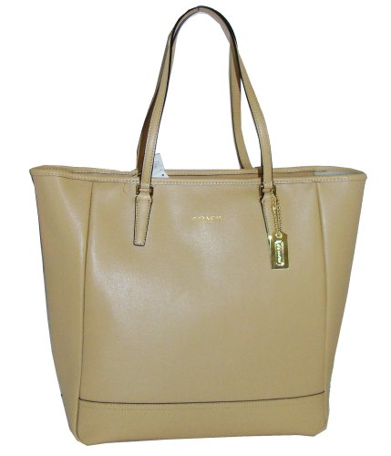 a0580512ff The Features Coach Saffiano Leather Medium North South City Tote Bag 23821  Camel Tan -