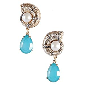 Jane Stone Blue Crystal Bridal Jewellery Pearl Earrings Statement Jewelry Wedding Earring(E0301-Blue)