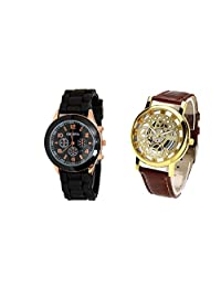 COSMIC COMBO WATCH- BLACK STRAP ANALOG WATCH FOR WOMEN AND BROWN ANALOG SKELETON WATCH FOR MEN