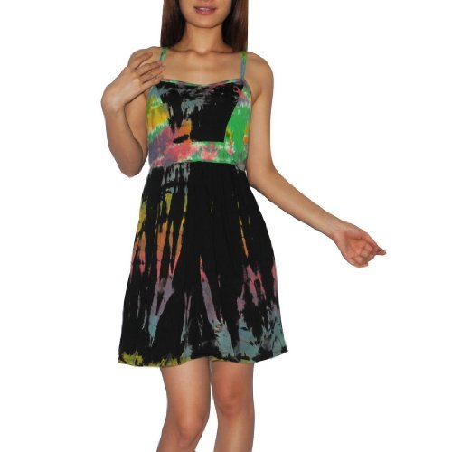 Women Thai Exotic Fashion Cute Stretchy Cotton Sleeveless Tank Dress - Size: M-L