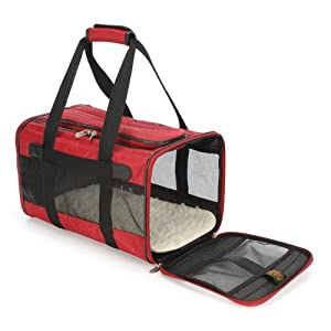 Original Bag Deluxe Pet Carrier Color: Red, Size: Large