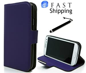 Epi Leather Wallet Case Ultra Slim Cover with Kickstand and Stylus Pen for Samsung Galaxy S III - Purple