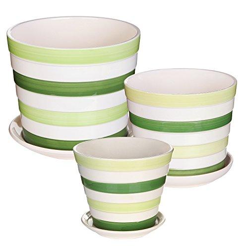 Kitchen Garden Pots: Set Of 3 Decorative Green Striped Ceramic Plant Flower