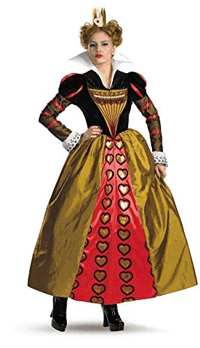 [Deluxe Red Queen Costume - Large - Dress Size 12-14] (Red Queen Of Hearts Costumes Wig)