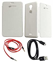 TBZ Flip Cover Case -White for Micromax Unite 2 A106 With Data Cable and Aux Cable