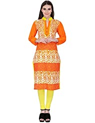 Agroha Women's Casual Printed Cotton Straight Kurta With 3/4th Sleeves