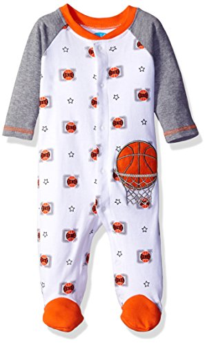 BON BEBE Baby Boys' Footed Coverall with Applique, Basketball White, 0-3 Months