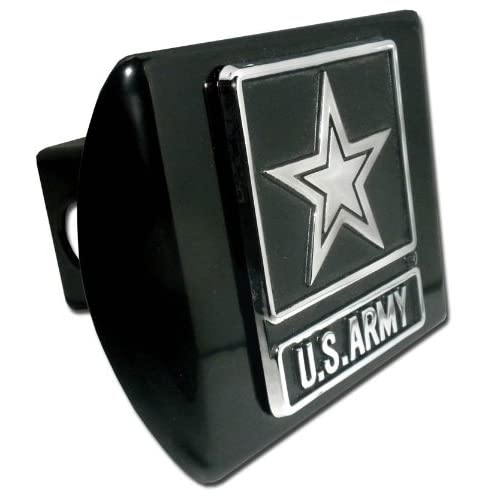 United States Army Star Black with Chrome Emblem Metal Trailer Hitch Cover Fits 2 Inch Auto Car Truck Receiver