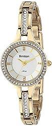 Armitron Women's 75/5237SVGP Swarovski Crystal Accented Gold-Tone Bracelet Watch