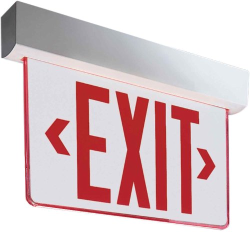Sure-Lites Eex61R Led Commercial Edgelit Exit Surface White Polycarbonate Housing, Single Face, Red Letters
