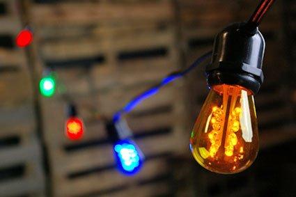 Commercial Led String Light, 24 Multicolor Edison Bulbs, 54 Feet, Black Wire