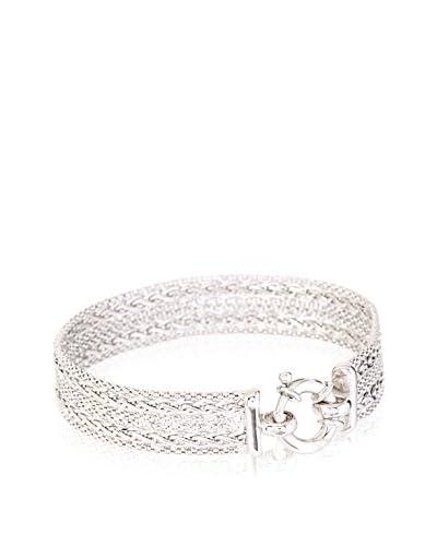 Peermont Jewelry Sterling Silver Popcorn & 2-Row Spiga Fancy Bracelet