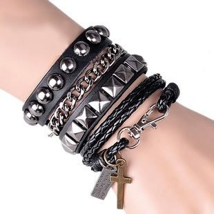 Punk chain bracelet / cross strap (black)