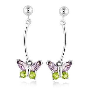 Sterling Silver Amethyst & Peridot Butterfly Earrings