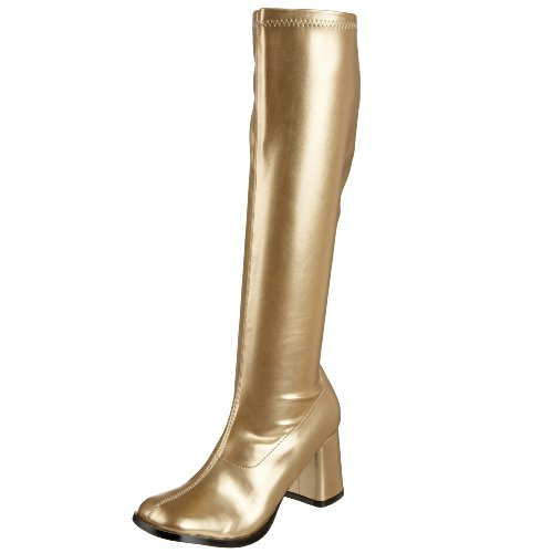 Funtasma by Pleaser Women's Gogo-300 Boot,Gold Stretch,10 M