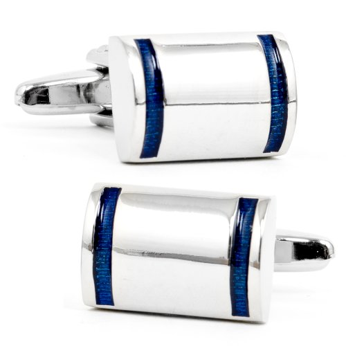 Navy Stripe D-Shaped Cufflinks