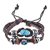 Handmade Vintage Multi Strand Blue Amber Bead Charm Leather Wrap Bracelet Adjustable Size for Women and Men