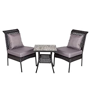 Patio Sense Havasu 3-Piece All Weather Wicker Bistro Set from Well Traveled Living