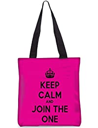 Snoogg Keep Calm And Join The One Fashion Printed Shopping Shoulder Lunch Tote Bag For Women