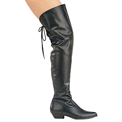 Womens Sexy Leather Thigh High Boot Black