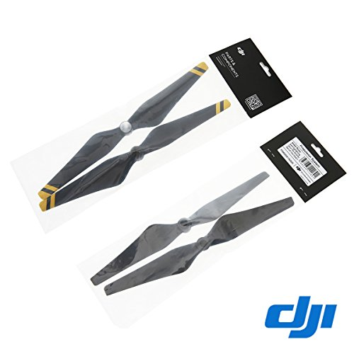 Clover 2 Pairs Genuine DJI Phantom 3 E305 9450 Props Carbon Fiber Reinforced Self-tightening Propellers (Composite Hub, Black with Yellow Stripes) For Phantom 3 Professional, Advanced, Phantom...